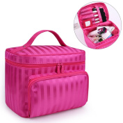 Hisight Portable Travel Cosmetic Bags Makeup Case Toiletry Bag Cosmetic Makeup Bag Organiser Storage Bags Double Zipper Beauty Box Brush Holder with Mirror