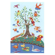 LA Rug Birds of Paradise Blue Accent Rug