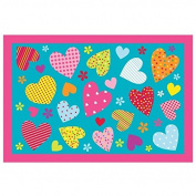 LA Rug Hearts Turquoise Accent Rug