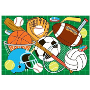 LA Rug Let's Play Sports Green Accent Rug
