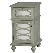 Sofaweb.com Hand Painted Distressed Washed Green and Mirrored Finish Accent Chest