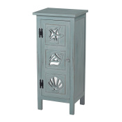 Sofaweb.com Distressed Vintage Sea Green Finish and Mirrored Accent Chest