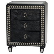 Sofaweb.com Hand Painted Distressed Faux Crocodile Print Black Finish Accent Chest