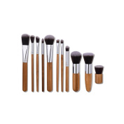 Kasla 11 Pieces Makeup Brush Set Professional Wooden HandleFace Eye Shadow Eyeliner Foundation Blush Powder Liquid Cream Cosmetics Blending Makeup Brushes Kit
