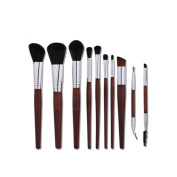 Kasla 10 Pieces Makeup Brush Set Professional Wooden HandleFace Eye Shadow Eyeliner Foundation Blush Powder Liquid Cream Cosmetics Blending Makeup Brushes Kit