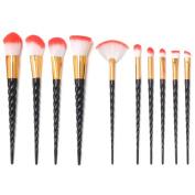12PCS Makeup Brush Set, 1PC Lash Brush 1PC Silicone Makeup Sponge with 10PC Unicorn Makeup Brushes Black Handle Red & White Hair Foundation Blending Eyeshadow Blush Cosmetic Brushes Kit By Beauty Star
