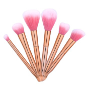 Iskas Makeup Brush Set 6pcs Soft Bristles Rose Gold Plastic Handle Make Up Brushes Face Eye Beauty Kit Foundation Concealer Blush Contour Cosmetic Tools