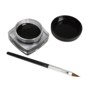 Black Mini Eyeliner Gel Cream With Brush Makeup Cosmetic Black Waterproof Eye Liner Prettymenny