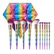 Tube Cosmetics Premium 10Pcs Makeup Brushes Colourful Unicorn Diamond Design Make-up Brush Set With Rainbow Leather Bag