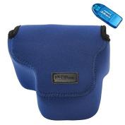 First2savvv QSL-RX10-14 dark blue Neoprene Camera Case Bag for Sony Cyber-Shot DSC RX10 + SD CARD READER