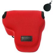 First2savvv QSL-RX10-08 red Neoprene Camera Case Bag for Sony Cyber-Shot DSC RX10 + Uv lens bag