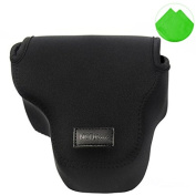 First2savvv QSL-RX10-01 black Neoprene Camera Case Bag for Sony Cyber-Shot DSC RX10 + Cleaning cloth