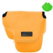 First2savvv QSL-RX10-07 Orange Neoprene Camera Case Bag for Sony Cyber-Shot DSC RX10 + Cleaning cloth