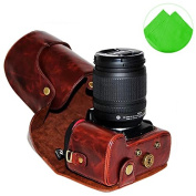 First2savvv XJPT-D7100-10 dark brown full body Precise Fit PU leather digital camera case bag cover with shoulder strap for Nikon D7100 D7200 D7000 with 18-55 /18-105mm Lens + Cleaning cloth