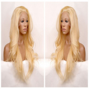 Long natural wavy blonde #613 synthetic hair lace front wig free part
