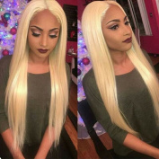 long straight blonde #613 hair middle part synthetic glueless lace front wig for lady woman