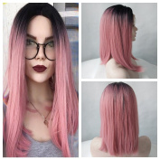 Black Ombre Pink Short Straight Bob Synthetic Lace Front Wig Women High Temperature Short Hairstyles Natural Looking Wig