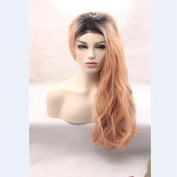 Curly hair ombre dark pink synthetic hair lace front wig free part glueless for woman