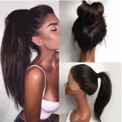Long Natural Straight Full Lace Hair Wig Synthetic Hair Fibre Anywhere Part High Ponytails