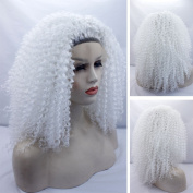 60cm 150% White Colour Afro Kinky Curly Synthetic Hair Glueless Lace Wig