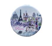 Paris Eiffel Tower Cafe Compact Personal Travel Mirror 6.4cm x 6.4cm Round