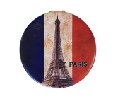 Paris Eiffel Tower Compact Personal Travel Mirror 7cm x 7cm Round