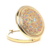 classic Diamond inlay Metal Folding Compact Travel Pocket Beauty Makeup Mirrors