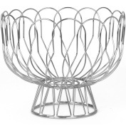 Present Time pt2519ch Wired Grey Chrome Metal Fruit Basket on Base