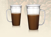 Maximum capacity of heat-resistant glass bowls with lids water cup of coffee mugs juice cup milk cup home lazy people cup ,9*15.5cm