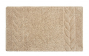 Bath Rug - Saffron Fabs 100% Soft Cotton, 90cm x 50cm , Colour Beige, GSF 180, Pattern Cable