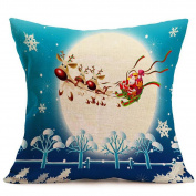 ME COO Elk City Santa Claus sleigh car decoration Christmas tree hug pillowcase plane printing room the living room cushion covers covers pillow covers 46cm x 46cm 1pcs