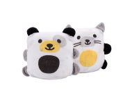 Ubbi Cotton Muslin Blanket Buddies and Swaddle, 2-in-1 Stuffed Animal, Set of Two, Dog/Cat