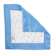 SwaddleDesigns Cotton Muslin Baby Lovie Security Blanket, Tiny Triangles with Satin, Blue