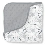 SwaddleDesigns Sterling Snuggle Blanket Microfiber & Cotton Muslin, Star Shine Shimmer & Grey Plush Dots