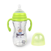 Shatterproof Glass Baby Bottle, 240ml, Anti-Colic & Wide Neck, Bottle Handle & Straw Included for Natural Baby Feeding