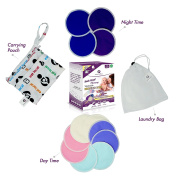 Best Organic Bamboo Nursing Pads | Washable, Super Soft & Hypoallergenic | UNIQUE 12 Bundle Pack with Daytime and Overnight Protection In One Box + Laundry Bag + Carrying Pouch with Waterproof Pockets