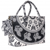 sophisticated Black and White Printed Beach Bag