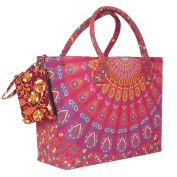 Multicoloured Chic Beach Bag with . Geometric Print