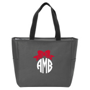Circle Bow Monogrammed Tote