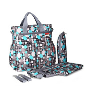 KJAHSLK Nappy Bag Backpack Mom Tote w/ Baby Change Pad, Stroller Straps and Insulated Zippered Bottle Bag