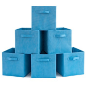 Set of 6 Foldable Fabric Basket Bin- EZOWare Collapsible Storage Cube For Nursery Home and Office - Niagara Blue