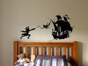 Wall Sticker Decal Peter Pan London Cartoon Tinkerbell Quote Pirate Never Grow Up Kids Children Boys Nursery Bedroom 1523b
