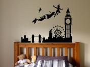 Wall Sticker Decal Pan London Cartoon Tinkerbell Quote Pirate Never Grow Up Kids Children Boys Nursery Bedroom 1519b