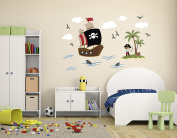 Pirates Theme Wall Decal - Pirate Wall Decals - Nursery Wall Decals - Ship Wall Decor Vinyl Sticker for Boys