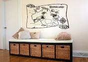 Wall Sticker Decal Neverland MapPeter Pan Cartoon Ship Pirate Never Grow Up Kids Children Boys Nursery Bedroom 1506b