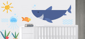 Sun Seaweed Waves Shark And Fish Animal Series - Baby Boy Wall Decal Nursery For Home Bedroom Children (IJ02)