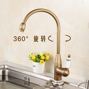 GFEI All copper antique kitchen faucet, faucet / European trough, laundry trough, hot and cold faucet, single, single hole can be rotated