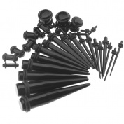 36pcs Black Ear Plugs Expander Kit Taper Stretcher Gauges Acrylic Stretching