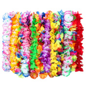 Outus 24 Pieces Hawaiian Ruffled Silk Flower Leis Luau Floral Leis for Dress, Party Necklace and Beach, Assorted Colours