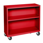 Sandusky Lee BM10361830-01 Red Steel Mobile Bookcase, 1 Adjustable Shelf, 90kg. Per Shelf Capacity, 90cm Height x 90cm Width x 46cm Depth